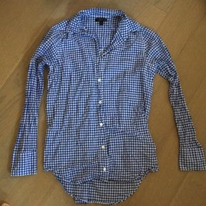 J crew gingham button up top